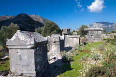 Lycian tomb in the village Sdima, Turkey Royalty Free Stock Images