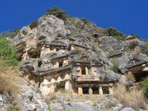 Lycian tombs. Ancient Lycian tombs in Turkey Stock Photo