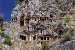 Lycian tombs carved in the rock in Myra Turkey Stock Photography