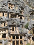 Lycian tombs, closeup. Ancient Lycian tombs in Turkey. Closeup Royalty Free Stock Images