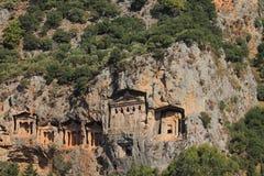 Lycian tombs in Dalyan Royalty Free Stock Image
