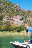 Lycian tombs on the Dalyan River. Stock Photography