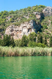 Lycian tombs on the Dalyan River Royalty Free Stock Photo