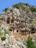 Lycian tombs in Demre (Myra). Rock-cut lycian tombs in Demre (Myra), Turkey royalty free stock photos