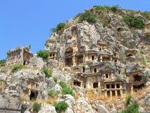 Lycian tombs in Demre (Myra). Rock-cut lycian tombs in Demre (Myra), Turkey royalty free stock photo