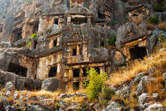Lycian tombs high in the mountains in Myra Royalty Free Stock Images