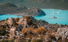 Lycian tombs and landscape of Simena Royalty Free Stock Images