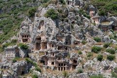 Lycian tombs in Myra, Demre, Turkey Stock Photos