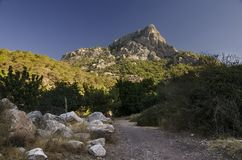 Lycian trail in Turkey, in this vengeance the road passes through the gorge from which a beautiful view of the top of the mountain. Filled with sun Royalty Free Stock Images