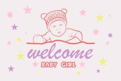 Lyckönskan för födelsen av ett nytt behandla som ett barn vektor illustrationer