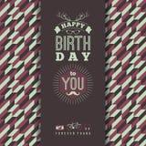 Lyckönskan för lycklig födelsedag, retro bakgrund för tappning med ge stock illustrationer