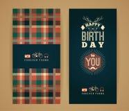 Lyckönskan för lycklig födelsedag, retro bakgrund för tappning med ge Royaltyfri Bild