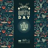 Lyckönskan för lycklig födelsedag, retro bakgrund för tappning med högt royaltyfri illustrationer