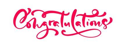 Lyckönskan för text för bokstäver för kalligrafi för vektorhand utdragna Elegant modernt handskrivet congratscitationstecken Färg stock illustrationer