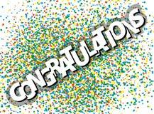 LYCKÖNSKAN på färgrik festlig konfettihögbakgrund stock illustrationer