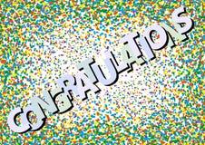 LYCKÖNSKAN på färgrik konfettivirvelbakgrund stock illustrationer