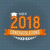 Lyckönskan på för gruppbakgrund för avläggande av examen 2018 illustration för vektor Arkivbilder