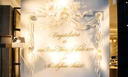 Lyckönskan till hans HRH-prins Harry och Meghan Markle i sto Royaltyfri Bild