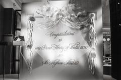 Lyckönskan till hans HRH-prins Harry och Meghan Markle i sto Royaltyfria Foton