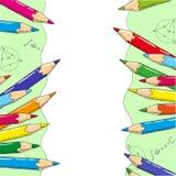 Lyckönskan till skolaramen med utrymme för text, illustration Royaltyfri Bild