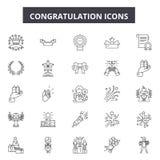Lyckönskanlinje symboler för rengöringsduk och mobil design Redigerbart slaglängdtecken Illustrationer för lyckönskanöversiktsbeg royaltyfri illustrationer