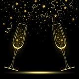 Lyckönsknings- baner med stiliserade Champagne Glasses stock illustrationer
