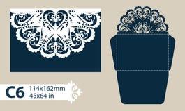 Lyckönsknings- kuvert för mall med den sned openwork modellen Royaltyfri Foto