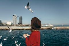 Lycka Barcelona Spanien för frihet för flickafågelhav Arkivbilder