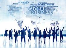 Lycka för beröm för prestation för framgång för affärsfolk global vektor illustrationer
