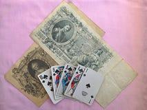 Lycka i poker-kunglig person spolning royaltyfri foto