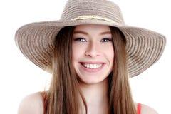 Lycka isolerade den lyckliga hatten för den asiatiska för bakgrundsstranden härliga caucasian lyckan för bifall driftiga spännan Arkivfoton