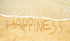 Lycka som är skriftlig i sanden Arkivbild
