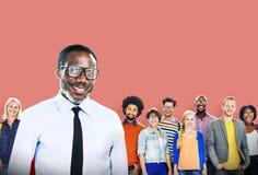 Lycka Team Concept för folkgemenskapsamhörighetskänsla Fotografering för Bildbyråer