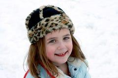 Lycka utanför i snön Arkivbilder
