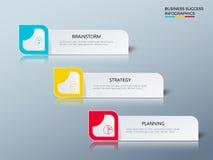 Lyckad affärsidédesign som marknadsför den infographic mallen Infographics med symboler och beståndsdelar stock illustrationer
