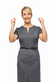 Lyckad affärskvinna Clenching Fists Arkivfoton