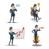 Lyckad affärsman Cartoons Affärsinnovation Manen med ringer planläggning royaltyfri illustrationer