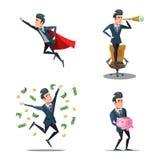 Lyckad affärsman Cartoons Toppet flyg för affärsman Piggy packa ihop stock illustrationer