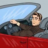 Lyckad affärsman i lyxig bil Man som kör en Cabriolet vektor illustrationer