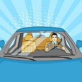 Lyckad affärsman i lyxig bil Man som kör en Cabriolet Popkonst vektor stock illustrationer