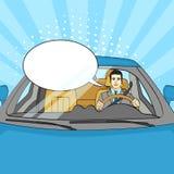 Lyckad affärsman i lyxig bil Man som kör en Cabriolet Popkonst vektortextbubbla royaltyfri illustrationer