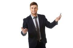 Lyckad affärsman med öppna händer Arkivbilder