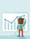 Lyckad affärsman med ett diagram som går upp stock illustrationer