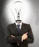 Lyckad affärsman med Lampa-Huvudet. royaltyfri fotografi