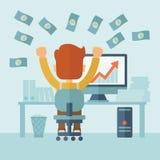 Lyckad affärsman med mycket pengar Arkivbild