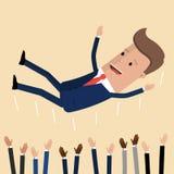 Lyckad affärsman som kastar upp vid hans teamwork eller kollega Menings- och sinnesrörelsebegreppet i framgång och lag arbetar Ve stock illustrationer