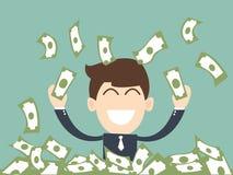 Lyckad affärsmanman som tycker om regnet av pengar Royaltyfria Bilder