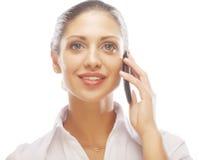 Lyckad affärskvinna med mobiltelefonen Fotografering för Bildbyråer