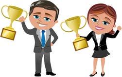 Lyckad affärskvinna och man med trofén Arkivfoto