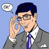 Lyckad affärsman som bra säger i tappningpop Royaltyfri Foto